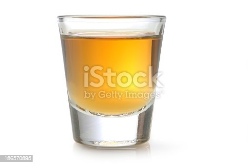 Glass of Alcohol on White.