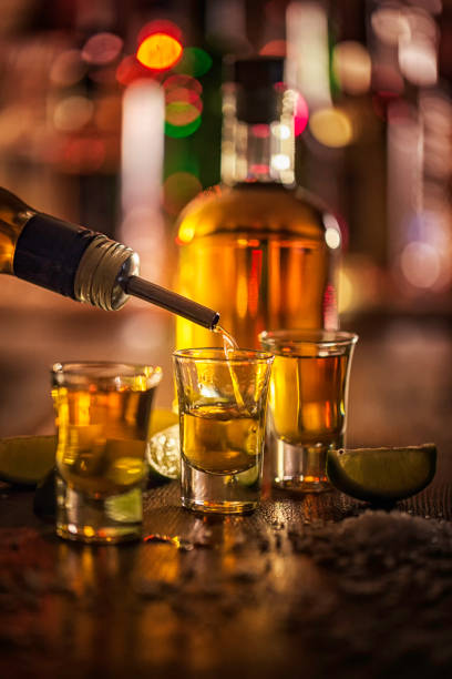 Tequila Shots with Lime Tequila Shots with Lime and Salt tequila shot stock pictures, royalty-free photos & images