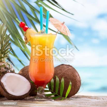 istock Tequila sunrise cocktail on the beach 169968907