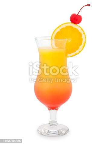 Tequila sunrise cocktail with orange slice and cherry isolated on white