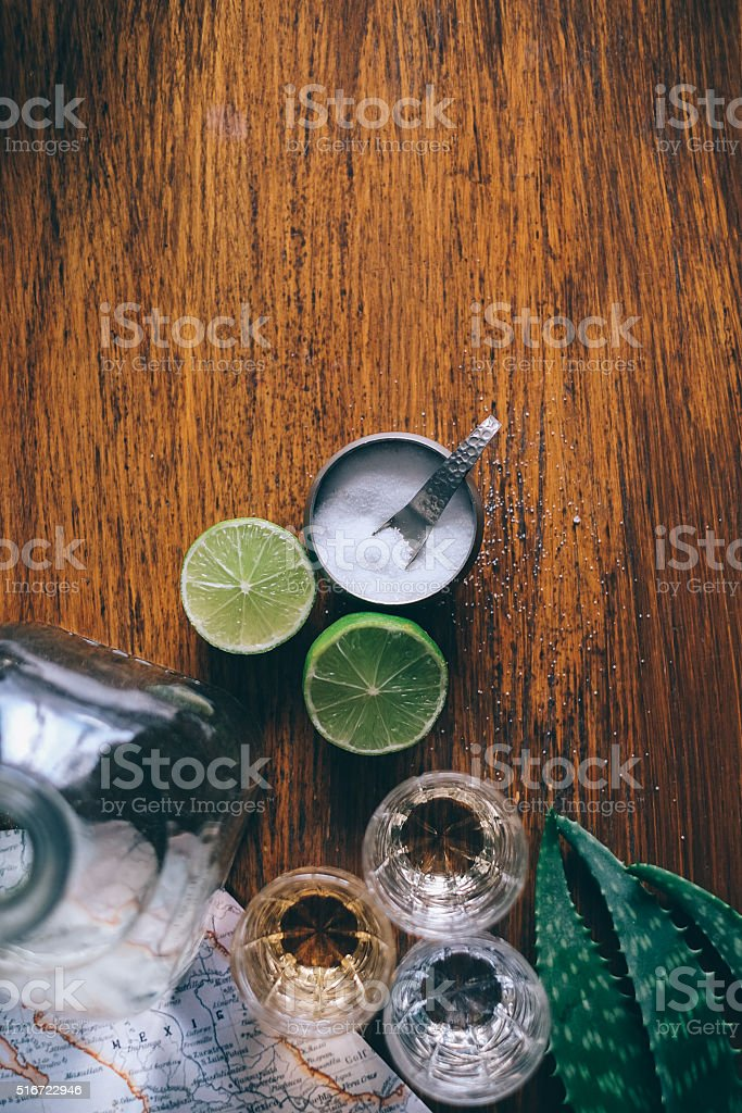Tequila with limes and leaves agava stock photo