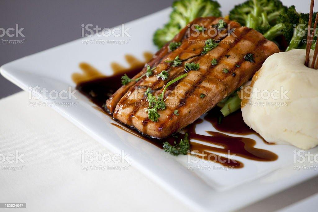 Teriyaki chicken and mashed potatoes stock photo