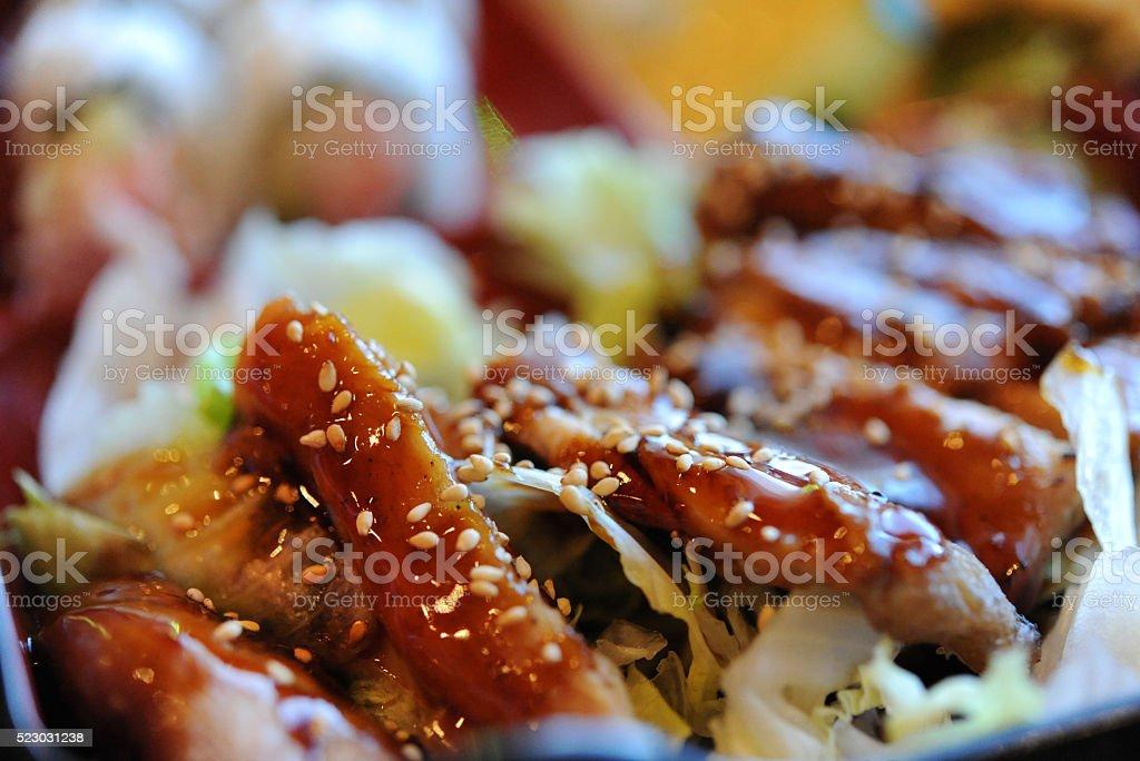 Teriyaki Chicken Close Up stock photo