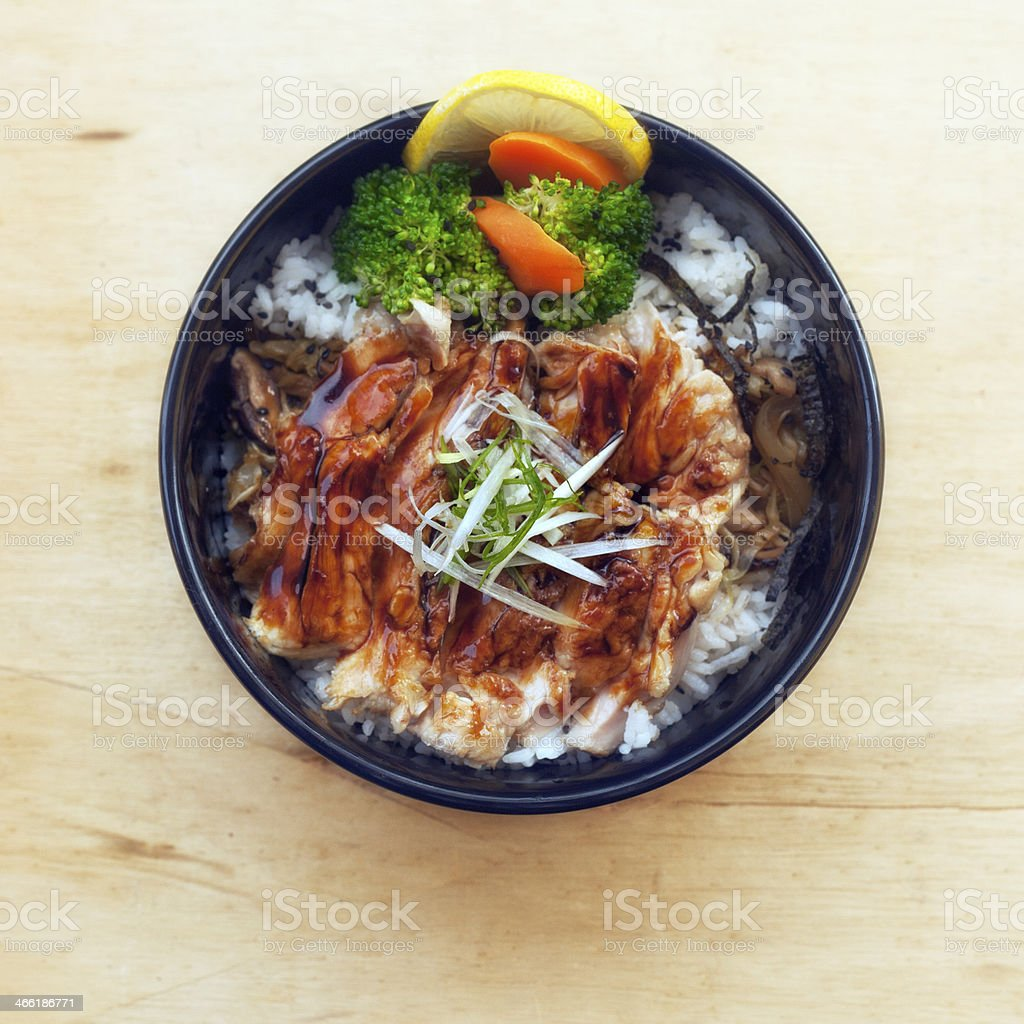Teriyaki Chicken Don (鶏の照り焼き丼) stock photo