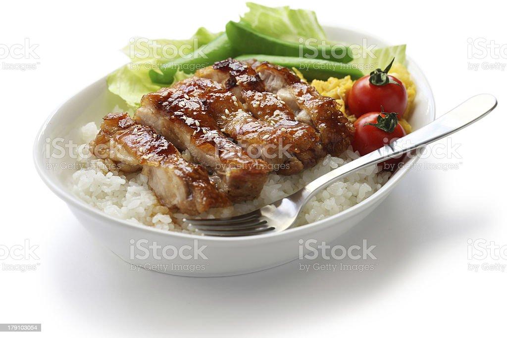 teriyaki chicken on rice stock photo