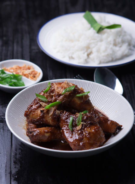 Teriyaki Chicken Stew served with white rice, green onion and fried shallot / onion on black wooden background stock photo