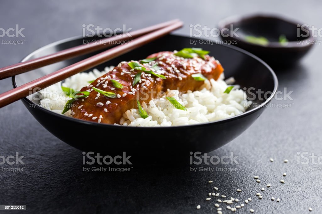 teriyaki salmon and  rice stock photo