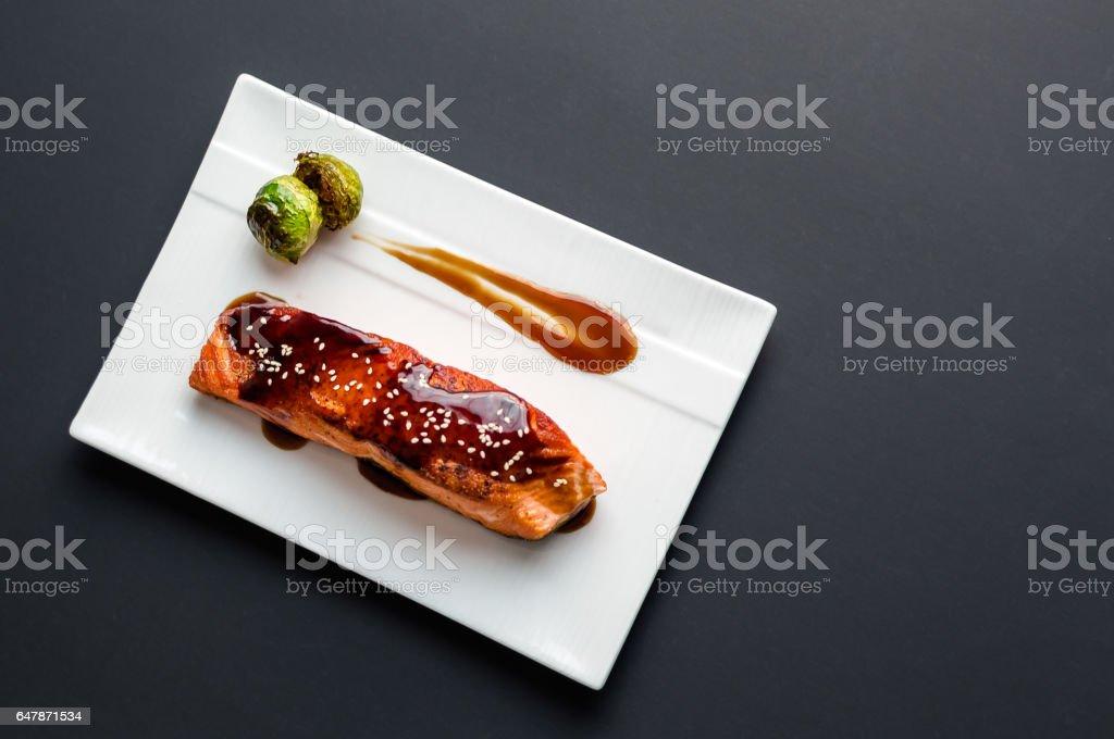 Teriyaki salmon from above. stock photo