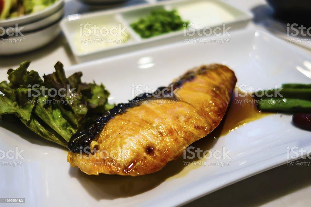 Teriyaki salmon stock photo