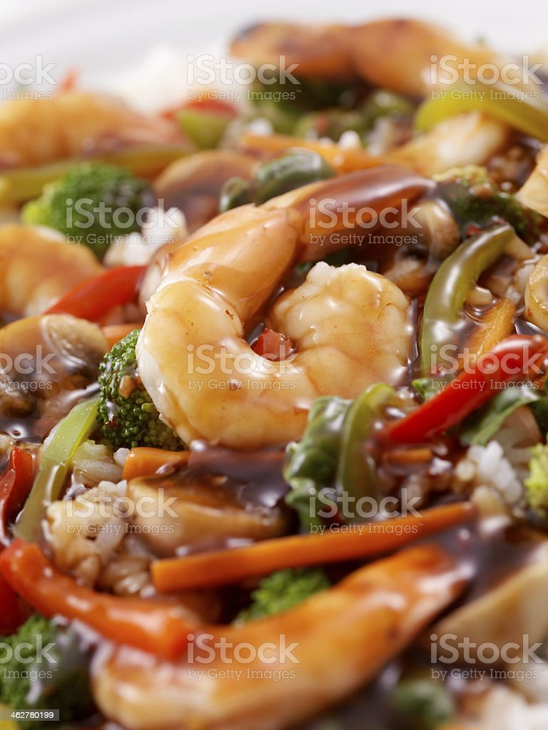 Teriyaki Shrimp Rice Bowl stock photo