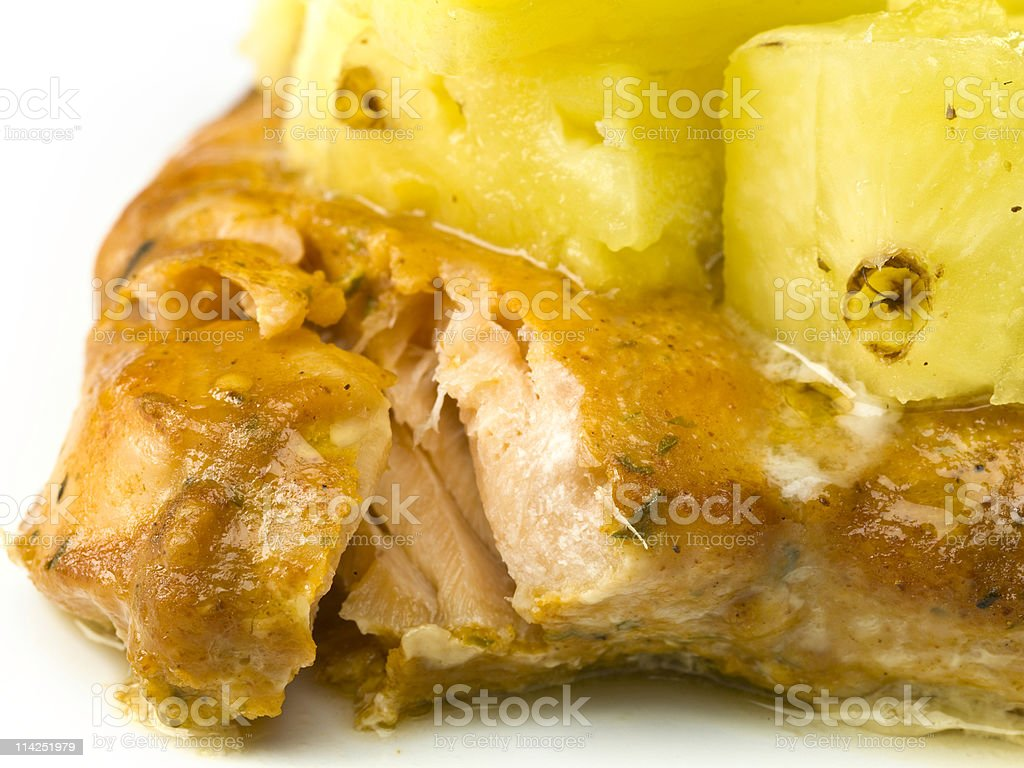 Teriyaki Wild Salmon Fillet  with Pineapple royalty-free stock photo