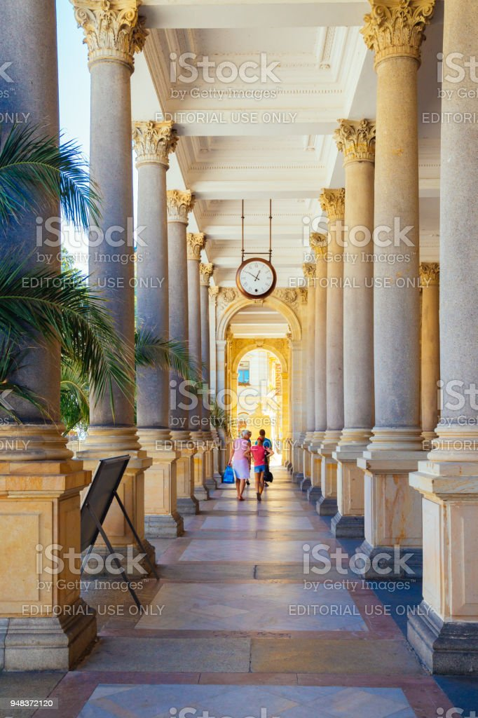 Termal mineral spring, Pillars and corridor in Karlovy Vary, Czech stock photo