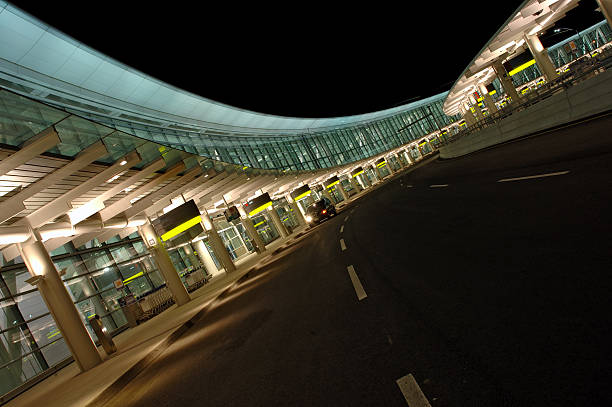 Terminal 1 at Toronto Pearson International Airport at night stock photo