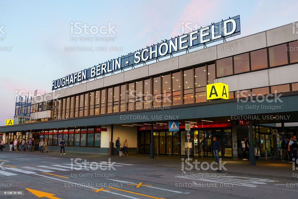 terminal a building of schoenefeld airport at day time stock photo more pictures of airport. Black Bedroom Furniture Sets. Home Design Ideas
