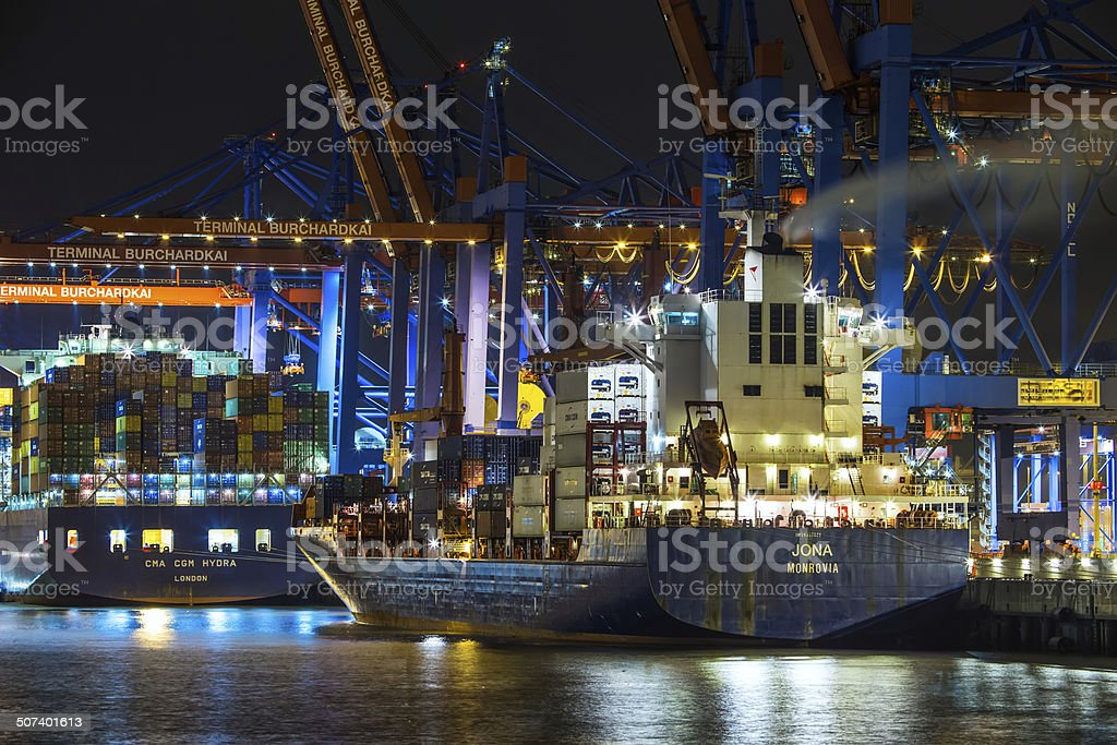 Terminal Burchardkai with two Container-vessels stock photo