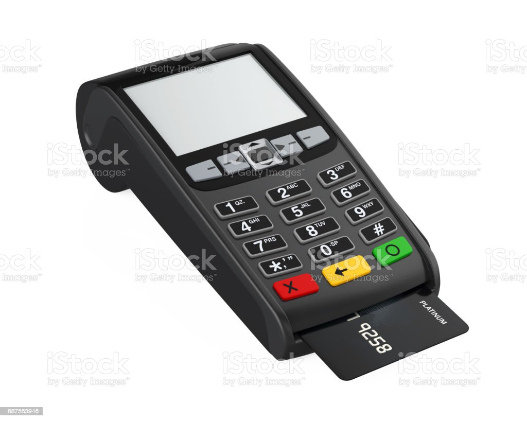 Pos Terminal Credit Card Machine Isolated Stock Photo - Download Image Now