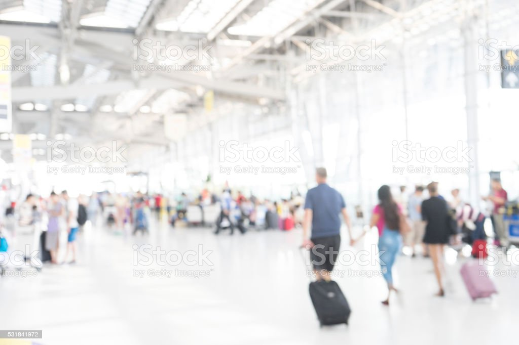 Terminal departure check-in at airport, blur background stock photo