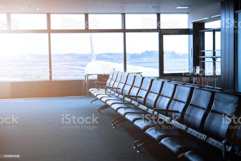Terminal Abflug-Lounge des Flughafens Flug am Flughafen warten – Foto