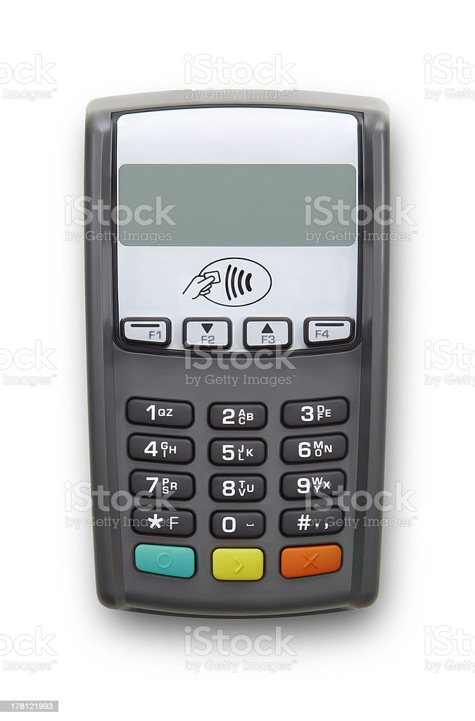 Terminal for card payment isolated on white background stock photo