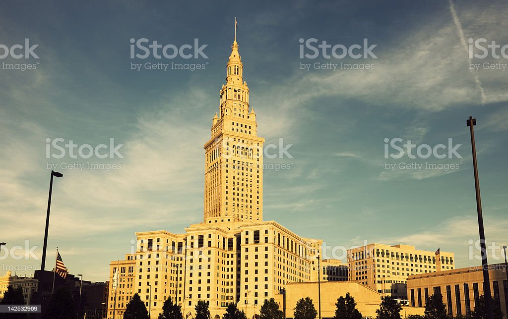 Terminal Tower in downtown of Cleveland stock photo