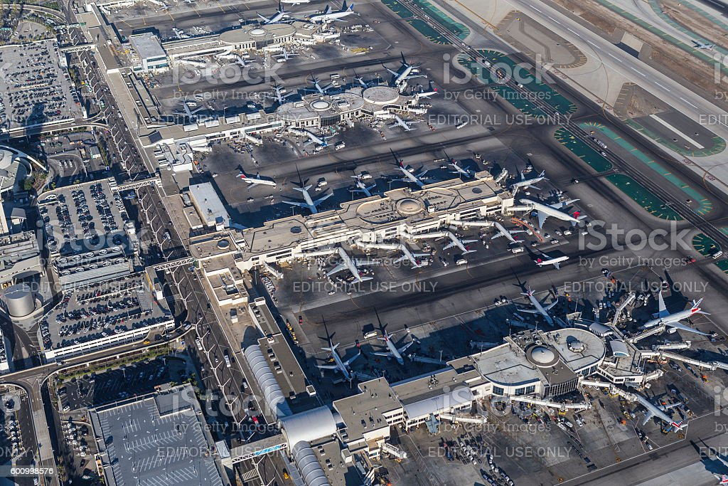 LAX Terminals and Jet Airplanes stock photo