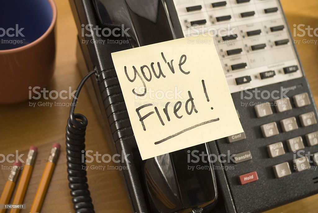Termination note on Phone Handset royalty-free stock photo