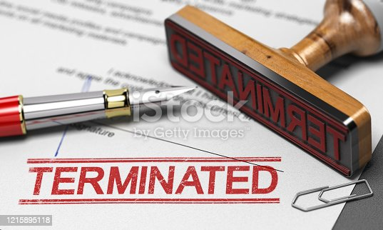 3D illustration of a contract termination agreement letter with a rubber stamp and the word terminated printed on the document.