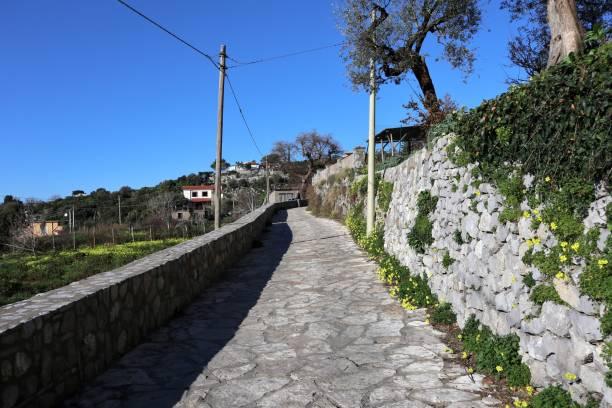 Termini - Percorso di via Campanella Massa Lubrense, Campania, Italy - February 15, 2020: Trekking route from the village of Termini to Punta Campanella percorso stock pictures, royalty-free photos & images