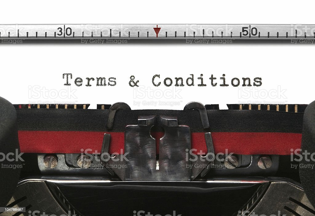 Terms and conditions written with a typewriter stock photo