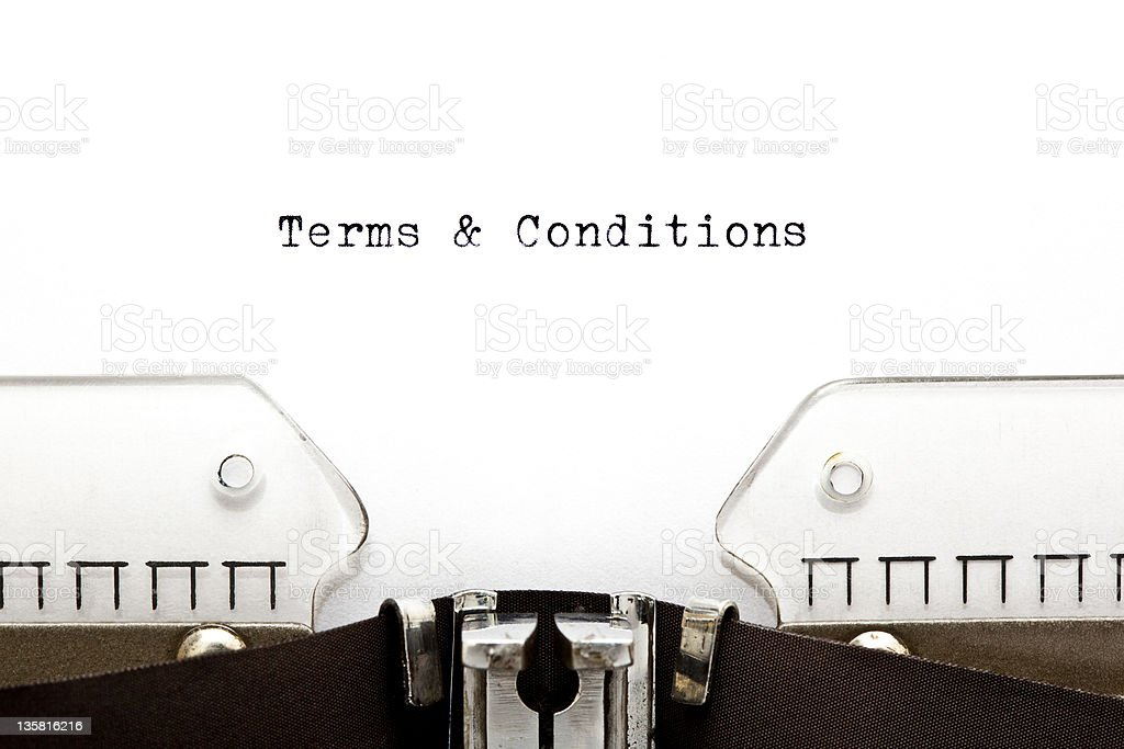 Terms & Conditions on Typewriter stock photo