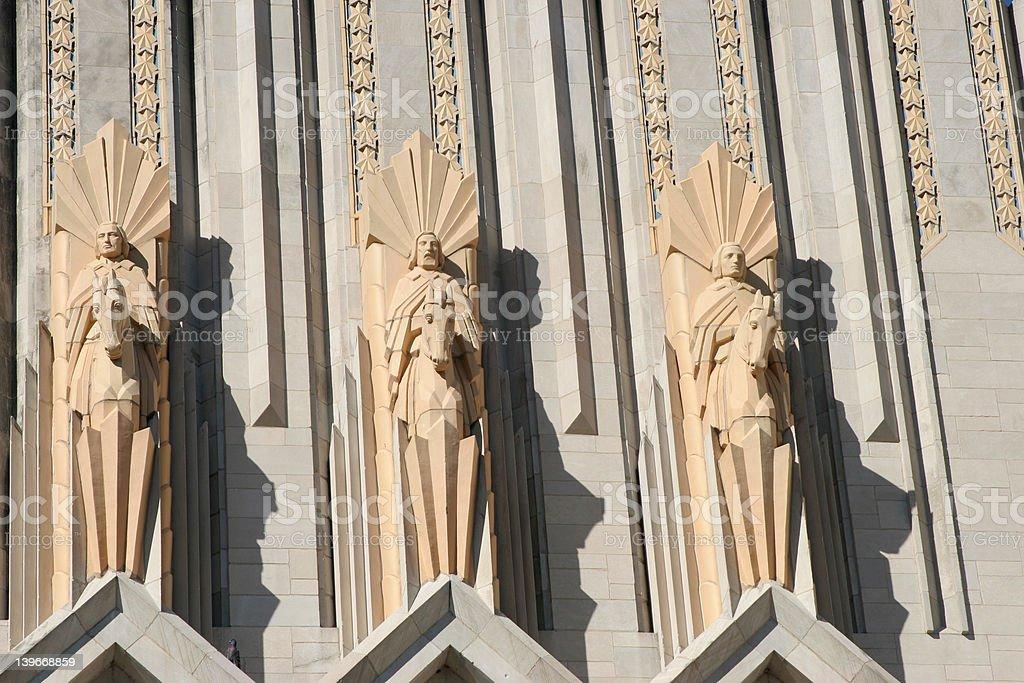 Terra Cotta Figures Above Doors to Boston Avenue Methodist Churc stock photo