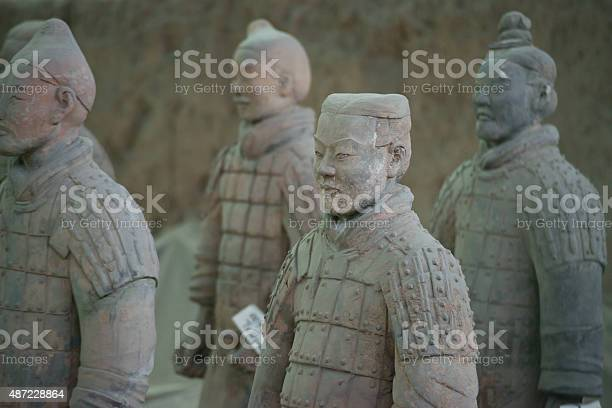 """XIAN,CHINA -JUNE 2 :The Terracotta Army or the """"Terra Cotta Warriors and Horses"""" buried in the pits next to the Qin Shi Huang's tomb in 210-209 BC. June 2, 2013 in Xian of Shaanxi Province, China"""