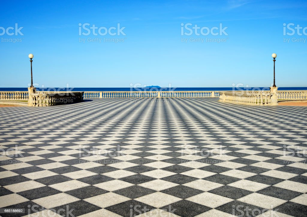 Terrace by the sea in Tuscany stock photo