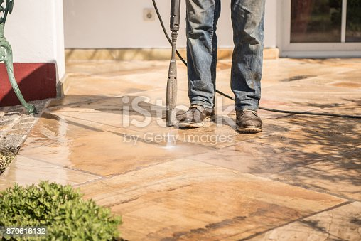 istock Terrace clean with the pressure washer 870616132