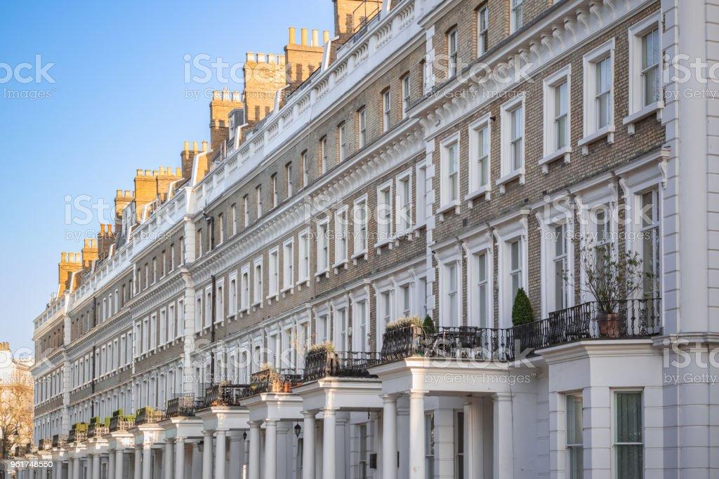 Terrace houses around Chelsea in London stock photo