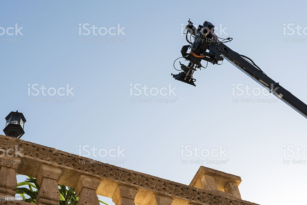 Terrace in professional movie set with camera stock photo