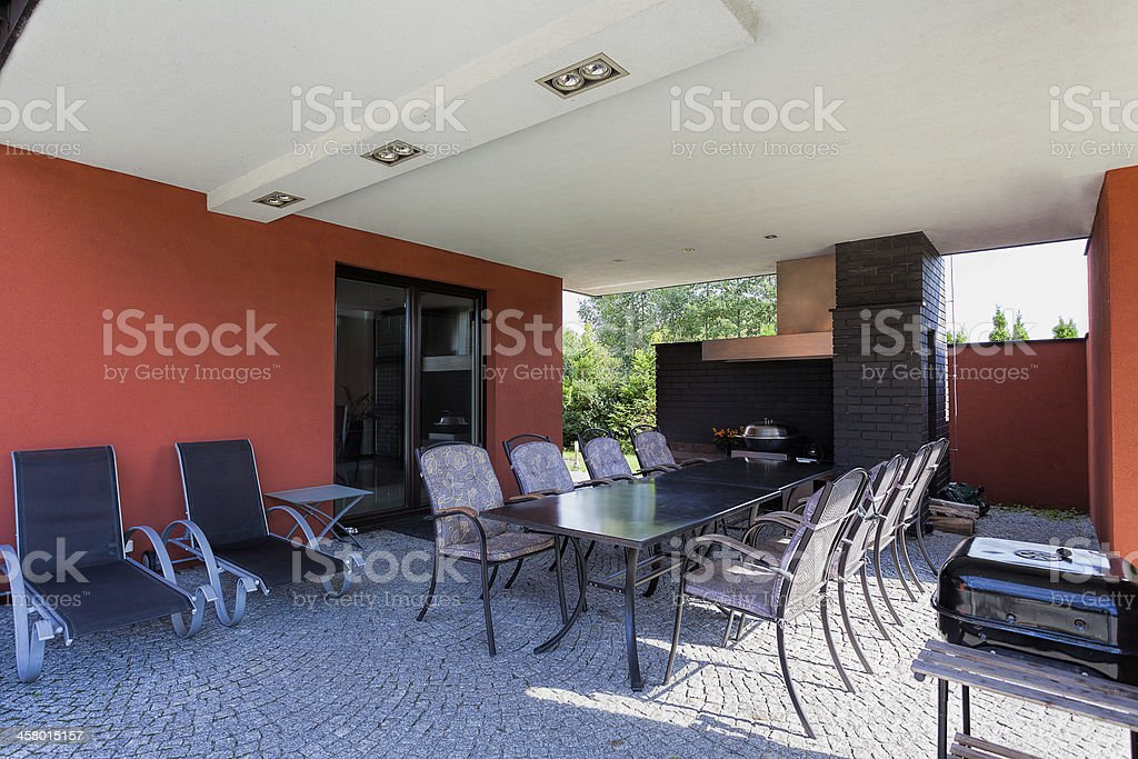 Terrace in spacious villa royalty-free stock photo
