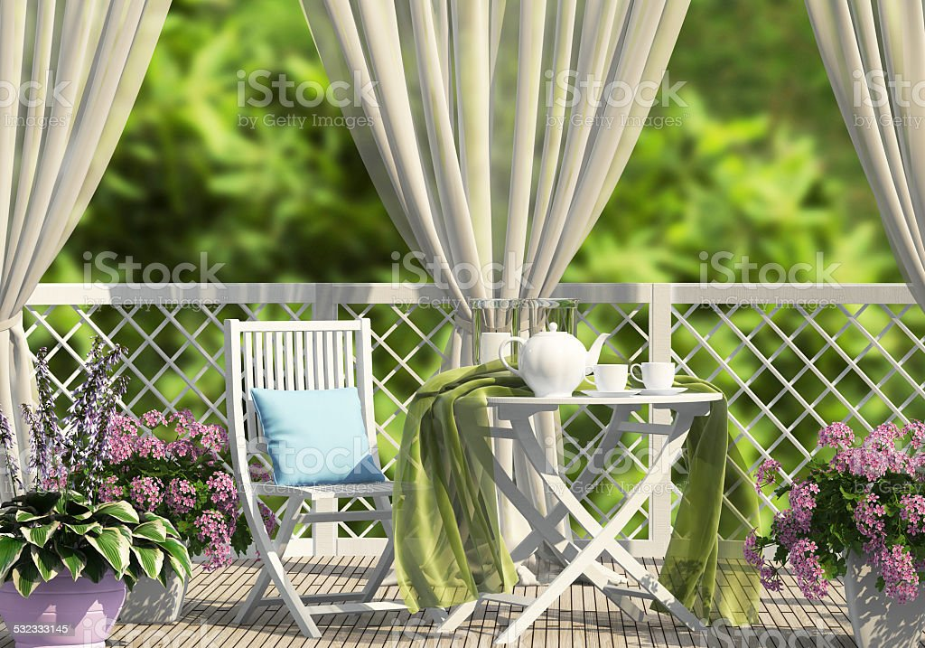 Terrace in the garden with curtains stock photo