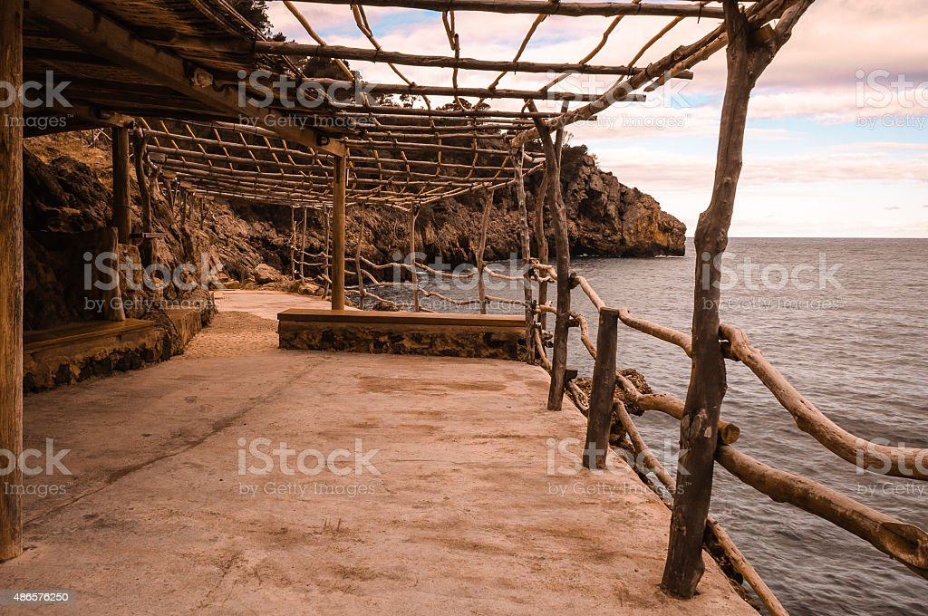 Terrace in the Mediterranean stock photo