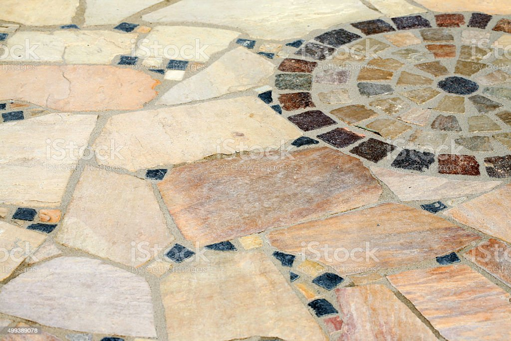 La Terraza De Piedra Natural Piso De Mosaico Foto De Stock Y