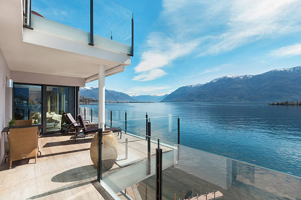terrace of a building, beautiful landscape modern architecture, beautiful lake view from the terrace of a penthouse penthouse stock pictures, royalty-free photos & images
