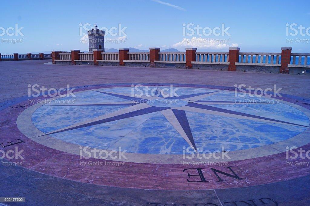 Terrace of Bovio square in Piombino stock photo