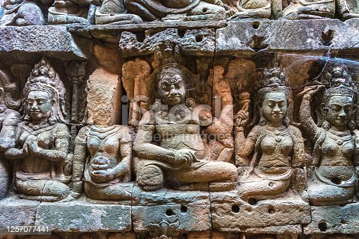 Sculpture on the wall Terrace of Elephants temple is Khmer ancient temple in complex Angkor Wat in Siem Reap, Cambodia