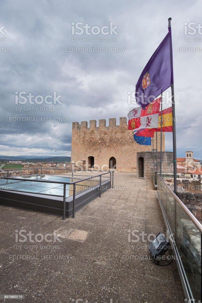 Terrace of medieval museum in Medina de Pomar, Burgos, Spain. stock photo
