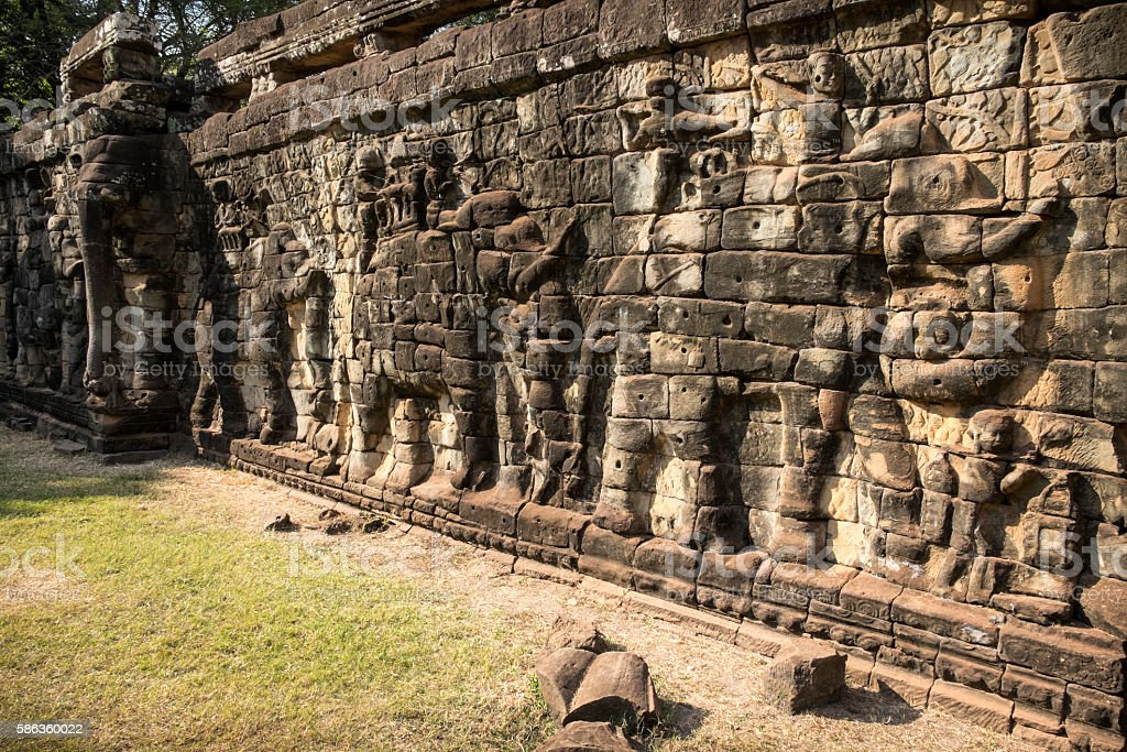 Terrace of the Elephants, Angkor Thom, Cambodia stock photo