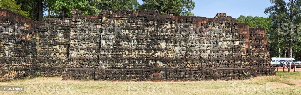 Terraza De Los Elefantes En Angkor Thom En Camboya Siem Foto