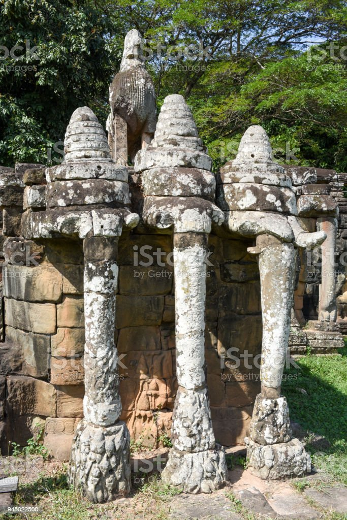Terraza De Los Elefantes En Angkor Thom En Camboya Siem Foto De Stock Y Más Banco De Imágenes De Angkor