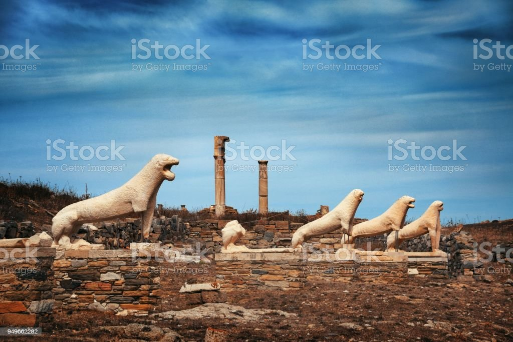 Terrace of the Lions in Delos stock photo