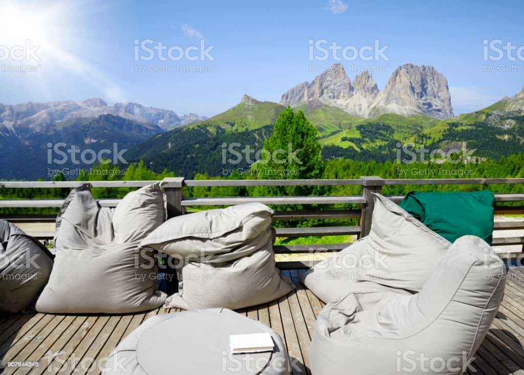 Terrace on Dolomites Alps stock photo