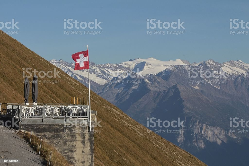 Terrace on the Brienzer Rothorn royalty-free stock photo